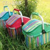 野餐袋 超大容量20升戶外野餐保溫籃車載保溫冰包折疊燒烤保鮮便當籃「七色堇」