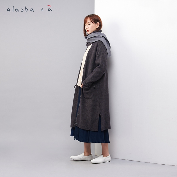 a la sha +a 雙色圍巾裝飾長版針織外套