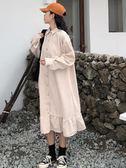 2018秋裝新款裙子女裝韓版長袖A字裙復古方領荷葉邊襯衫連衣裙潮 雙11購物節