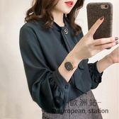 雪紡衫/長袖襯衫女燈籠袖新款秋裝寬鬆顯瘦襯衣韓版大碼上衣「歐洲站」