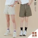 四分褲 純色斜紋4釦高腰短褲M-L號-B...