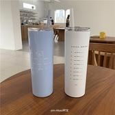 咖啡保溫杯 ins保冷保溫吸管咖啡杯大容量不銹鋼女可愛帶蓋便攜