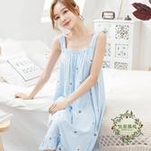 正韓夏季吊帶睡裙女夏天性感無袖寬鬆棉綢睡衣人造棉中裙大尺碼