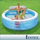 【INTEX】圓型藍色有靠背泳池(57190)