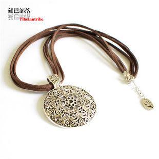 女款項鏈 歐美宮廷簡約古銀色圓盤皮繩