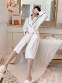 法蘭絨睡衣女士秋冬長款保暖白色酒店浴袍加絨加厚性感珊瑚絨睡袍YXS 韓小姐