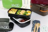 安素日式雙層便當盒微波爐分格飯盒大容量水果餐盒送餐具送便當袋