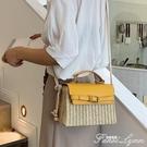高級感包包洋氣女包夏天新款潮韓版百搭斜背包草編時尚手提包 范思蓮思