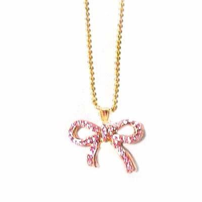 俏麗金色粉紅水鑽蝴蝶結項鍊