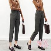 西裝褲女秋季正韓寬鬆格子學生直髮九分高腰小腳西褲子氣質百搭 1件免運
