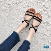 涼鞋涼鞋女夏季平底涼鞋簡約2018新品細帶露趾復古羅馬百搭仙女的涼鞋 (七夕禮物)
