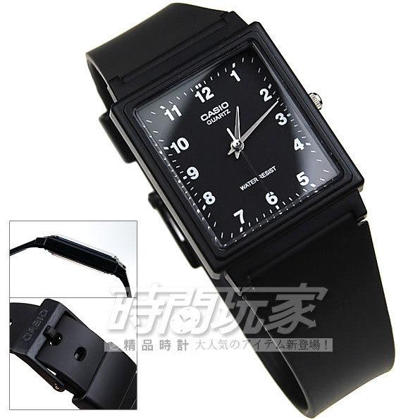 CASIO卡西歐MQ-27-1B指針錶 黑面 數字時刻 黑色橡膠錶帶 方型 35mm 時間玩家 MQ-27-1BDF