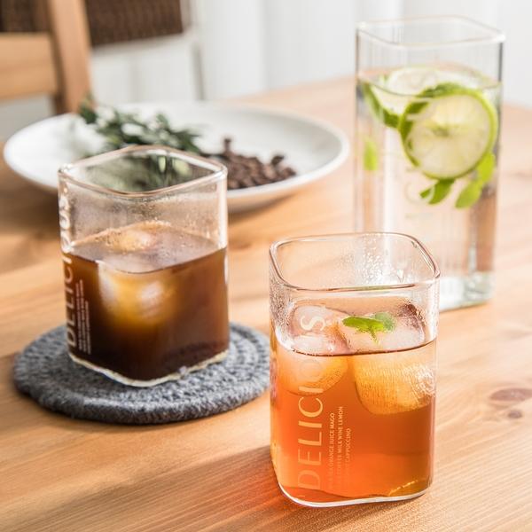 北歐風 方形玻璃水杯 玻璃杯 咖啡杯 牛奶杯 水杯 杯子 冷水杯 玻璃水杯 透明水杯 早餐杯【RS897】
