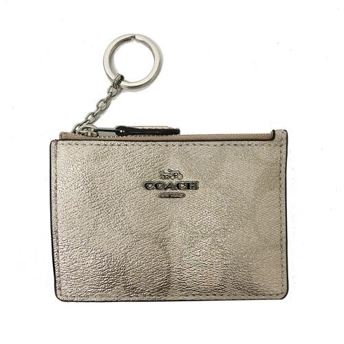 【COACH】經典C LOGO PVC皮革零錢包鑰匙包悠遊卡(金)