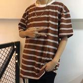 復古雙線條紋打底衫短袖T恤 18ss男女款 【好康八五折】