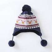 秋冬天嬰幼兒帽子歐美男女寶寶毛線套頭帽兒童針織保暖護耳帽可愛