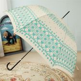 新款復古圖騰印花雨傘彎柄傘防水夏天拱形傘細長柄傘【一條街】
