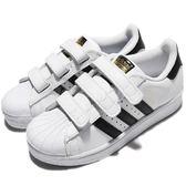 adidas 休閒鞋 Superstar Foundation CF C 白 黑 魔鬼氈 基本款 童鞋 中童鞋【PUMP306】 B26070