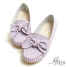 專櫃女鞋 MIT粉嫩蝴蝶結莫卡辛豆豆鞋-艾莉莎Alisa【24611903】紫色下單區