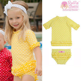 泳衣 / 泳裝 Rufflebutts - 小女童荷葉邊短袖泳衣-亮黃點點 RGSYP-2R00