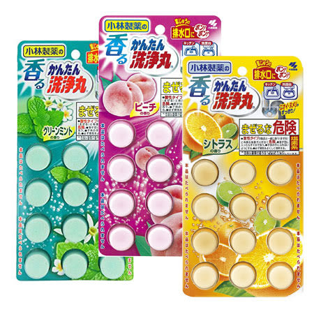 日本 小林製藥 排水管香氛除垢錠 12錠 薄荷 水蜜桃 水管清潔發泡錠 廚房 洗手台 排水口 馬桶