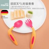 兒童餐具嬰兒勺子寶寶學吃飯訓練勺子叉子套裝新生兒童餐具輔食碗彎頭軟勺 雙12