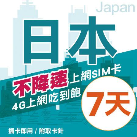 【Hallo】日本上網卡 7日 不限流量不降速 4G上網 吃到飽上網SIM卡