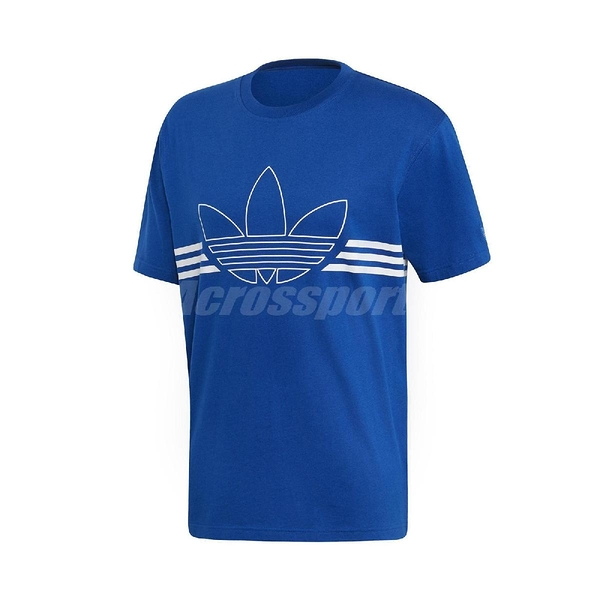 adidas 短袖T恤 Outline Tee 藍 白 男款 輪廓 三葉草 純棉 正常版型 【PUMP306】 EJ8790