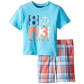 【北投之家】男寶寶套裝二件組 短袖上衣+短褲 藍船勾 | Nautica童裝 (嬰幼兒/小孩/baby)