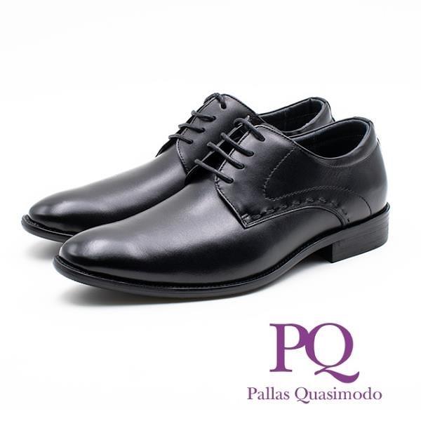 【南紡購物中心】PQ 真皮縫線造型綁帶皮鞋 男鞋 -黑