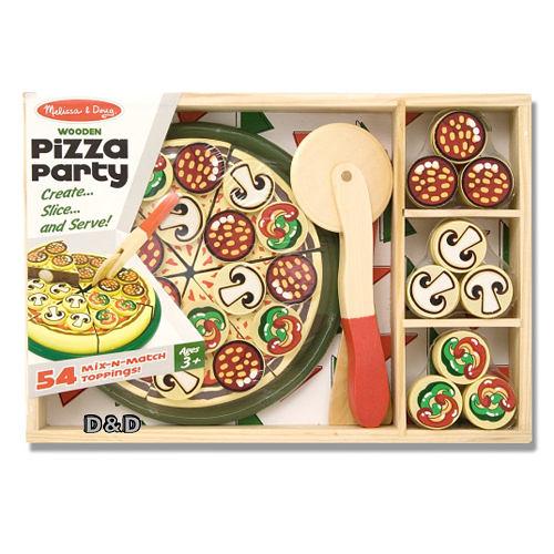 免運費《 美國 Melissa & Doug 》 玩食趣-Pizza 比薩派對╭★ JOYBUS歡樂寶貝