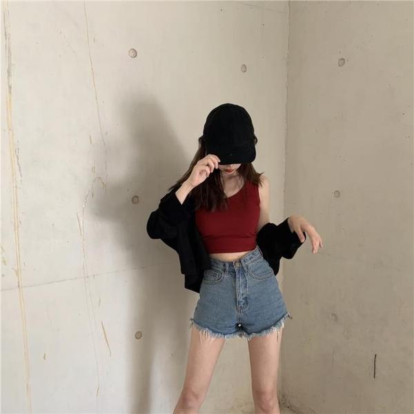 背心女 港味短款內搭打底無袖吊帶上衣女春夏黑色泫雅外穿緊身露臍小背心 萬聖節狂歡