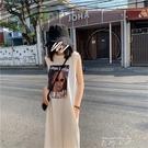 夏裝2021新款洋裝韓版超火cec背心無袖t恤女中長款寬鬆原宿bf洋裝潮 米娜小鋪