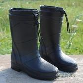 (快出)時尚季新款時尚仿皮男式雨鞋高筒加絨保暖雨靴機車水鞋套鞋