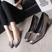 春秋新款韓版大碼尖頭淺口單鞋中跟粗跟女鞋黑色ol工作鞋皮鞋 薔薇時尚