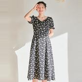 連身裙 V領收腰木耳短袖長洋裝PR0239A-創翊韓都