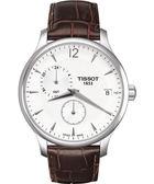 TISSOT 天梭 Tradition GMT 二地時區經典手錶-白/咖啡 T0636391603700