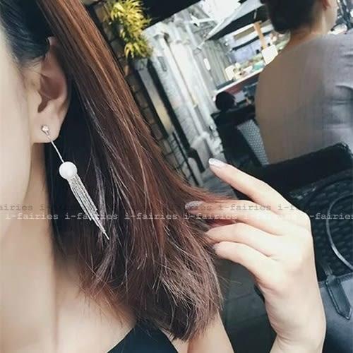5天出貨★珍珠金屬流囌長款耳環★ifairies【31069】