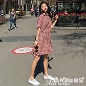 襯衫裙 夏季格子polo襯衫連身裙女中長款寬鬆顯瘦小個子復古氣質魚尾裙子 愛麗絲