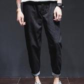 水洗牛仔褲男士深色百搭長褲休閒簡約九分褲