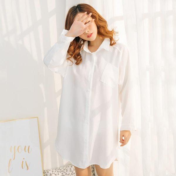睡衣女夏性感情趣白襯衫女情調衣人薄款睡裙男友風襯衣家居服夏天