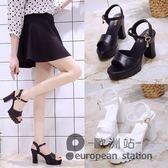 魚口涼鞋/夏季韓版白色中跟防水台女坡跟粗跟鬆糕厚底高跟女鞋「歐洲站」