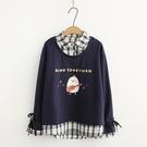 日系森女刺繡連帽假兩件襯衫領上衣(2色M,L)*ORead*