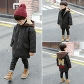 男童呢子大衣新款秋冬裝韓版加絨厚寶寶上衣兒童連帽毛呢外套