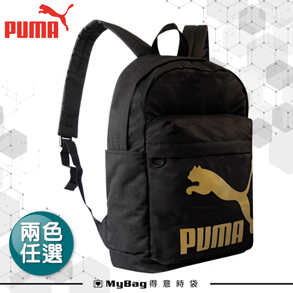 PUMA 後背包 雙肩背包 大學包 運動包 大容量 黑金LOGO 休閒包 076643 得意時袋
