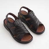 台灣製 男涼鞋 手工縫製男用簡約拖鞋 涼鞋 黑《SV8801》快樂生活網
