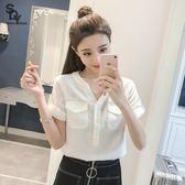 雪紡上衣 白色雪紡襯衫女短袖春裝新款韓版寬鬆百搭學生V領上衣女襯衣 艾美時尚衣櫥