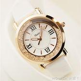 手錶女士學生時尚潮流韓版簡約休閒大氣時裝錶水鉆皮帶防水石英錶 莫妮卡小屋