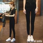 2018春秋新款彈力高腰牛仔褲女黑色大碼顯瘦修身小腳鉛筆長褲子潮