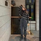 束腳工裝褲女高腰系帶松緊腰寬鬆闊腿休閒褲【時尚大衣櫥】